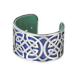 Celtic Bangle Green Blue Leather Irish Cuff Bracelet