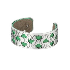 Solvar Silver Tone Shamrock Bangle Cuff Bracelet