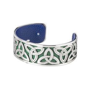 Solvar Silver Trinity Bangle Cuff Bracelet