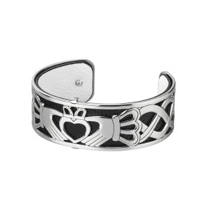 Solvar Silver Claddagh Celtic Bangle Cuff Bracelet
