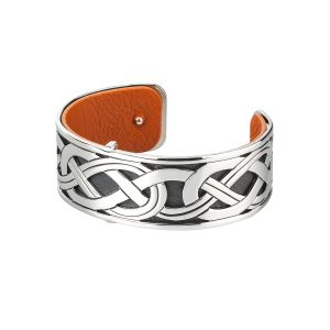 Solvar Silver Celtic Bangle Cuff Bracelet
