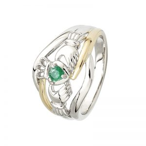 Ladies 14k Gold Two Tone Emerald Claddagh Ring