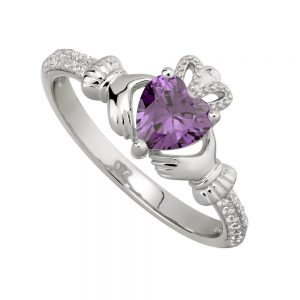 February Amethyst Birthstone Claddagh Ring