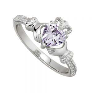 June Claddagh Birthstone Ring