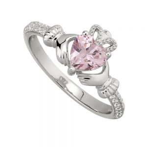 October Pink Topaz Claddagh Birthstone Ring