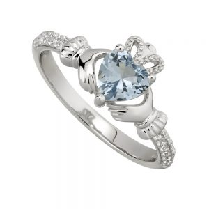 December Blue Topaz Claddagh Birthstone Ring