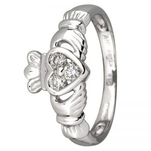 14K White Gold .18ct Diamond Claddagh Ring