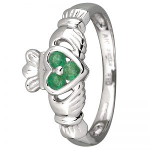 14K White Gold .18ct Emerald Claddagh Ring