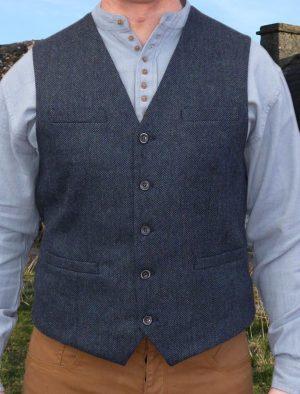 Tweed Navy Blue Irish Waistcoat