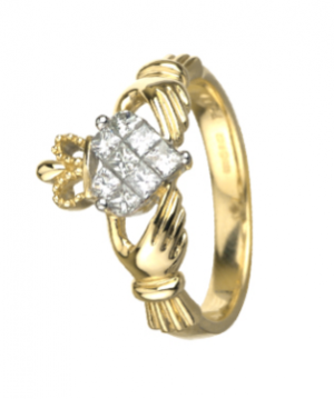 14K Yellow Gold .50ct Diamond Claddagh Ring