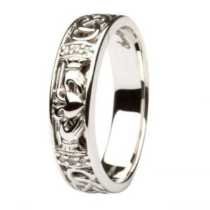 Ladies 14k White Gold Claddagh Diamond Ring