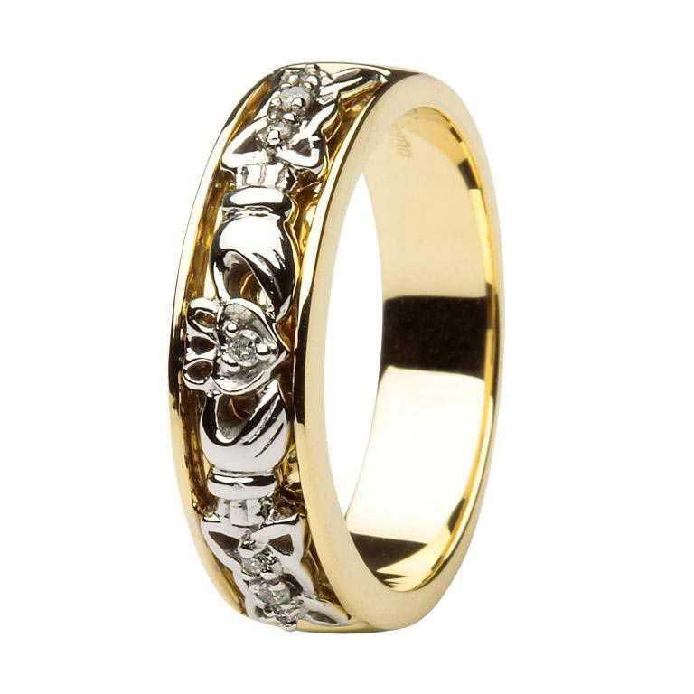 Ladies 2 Tone Gold Claddagh Diamond Wedding Ring Made In Ireland