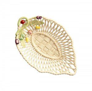 Belleek Rose Bud Leaf Basket