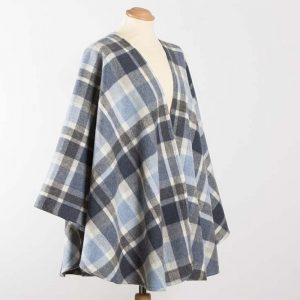 John Hanly Lambswool Irish Blue Check Sue Cape - 626