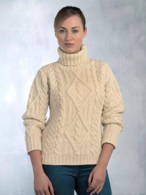 Ladies White Aran Turtle Neck Irish Sweater R2080