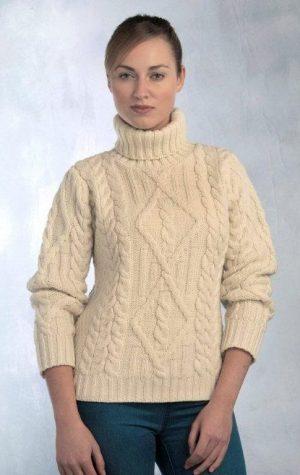 Ladies White Aran Turtle Neck Irish Sweater R2080