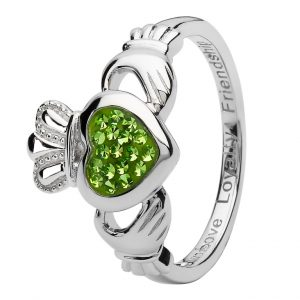 Claddagh Green Pave Set Ladies Ring