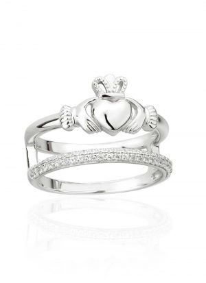Claddagh Double Band CZ Ring