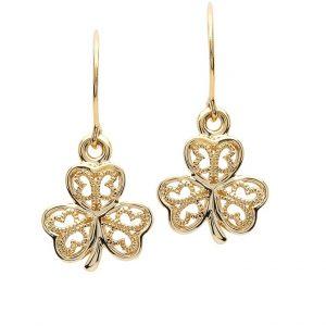 Gold 10K Shamrock Filigree Earrings