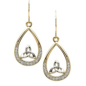 Gold 10K Pave Set Trinity Knot Earrings