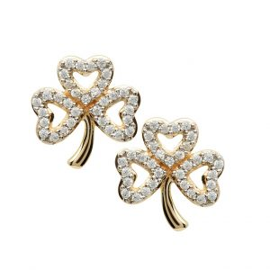 Gold 10K Shamrock Stone Set Stud Earrings