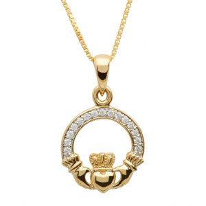 Gold 10K Claddagh Pave Set Necklace