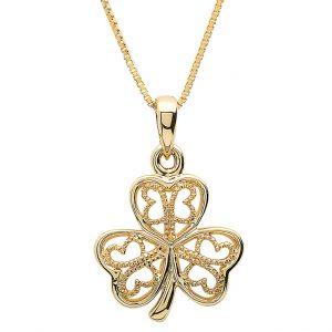 Gold 10K Filigree Shamrock Necklace