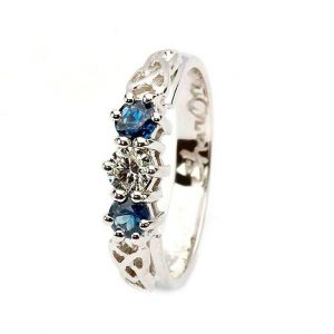 14k White Gold Diamond Sapphire 3 Stone Celtic Trinity Ring