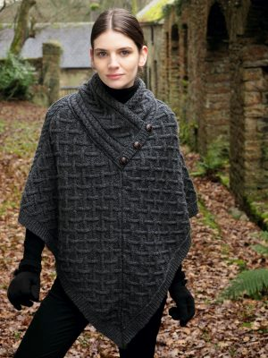 Charcoal Merino Wool Poncho
