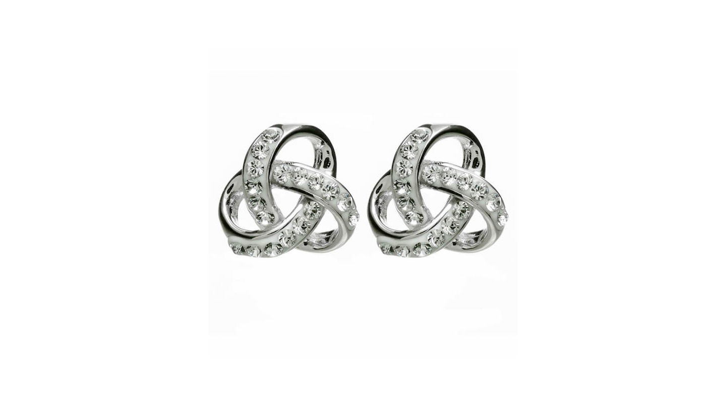 83448edd2 Sterling Silver Trinity Knot Earrings with Swarovski Crystal - The ...