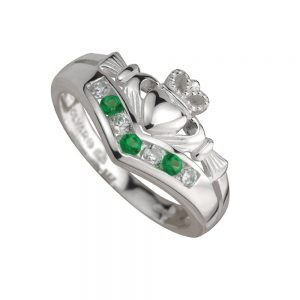Ladies Sterling Silver Claddagh Wishbone Ring s2751