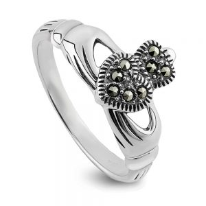 Ladies Sterling Silver Marcasite Claddagh Ring