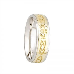 Ladies Sterling Silver & 10k Gold Claddagh Band