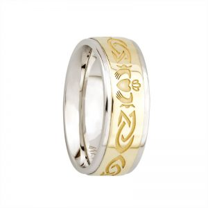 Gents Claddagh 10k Gold Sterling Silver Band