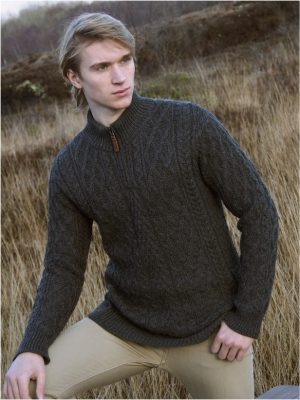Mens Merino Wool Half Zip Aran Sweater x4295
