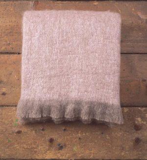 Foxford Pink & Mink Mohair Blanket
