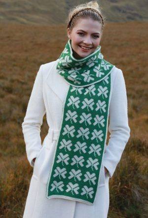 Merino Wool Irish Shamrock Scarf