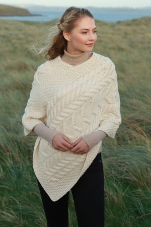 Natural Aran Super Soft Merino Wool Poncho