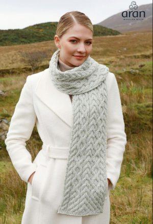 Gray Merino Wool Aran Scarf b669 552
