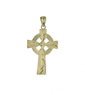 Solvar 14k Hand Engraved Celtic Cross Charm 20mm s8194