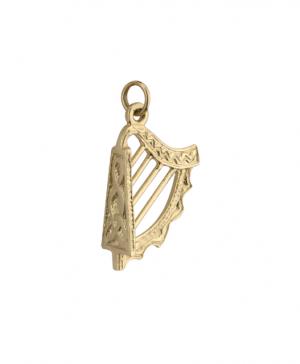 Solvar Large 14k Gold Harp Charm s8259
