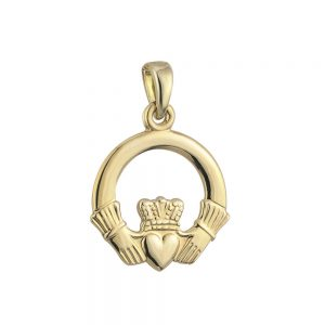 Solvar 9k Gold Medium Claddagh Charm S8289
