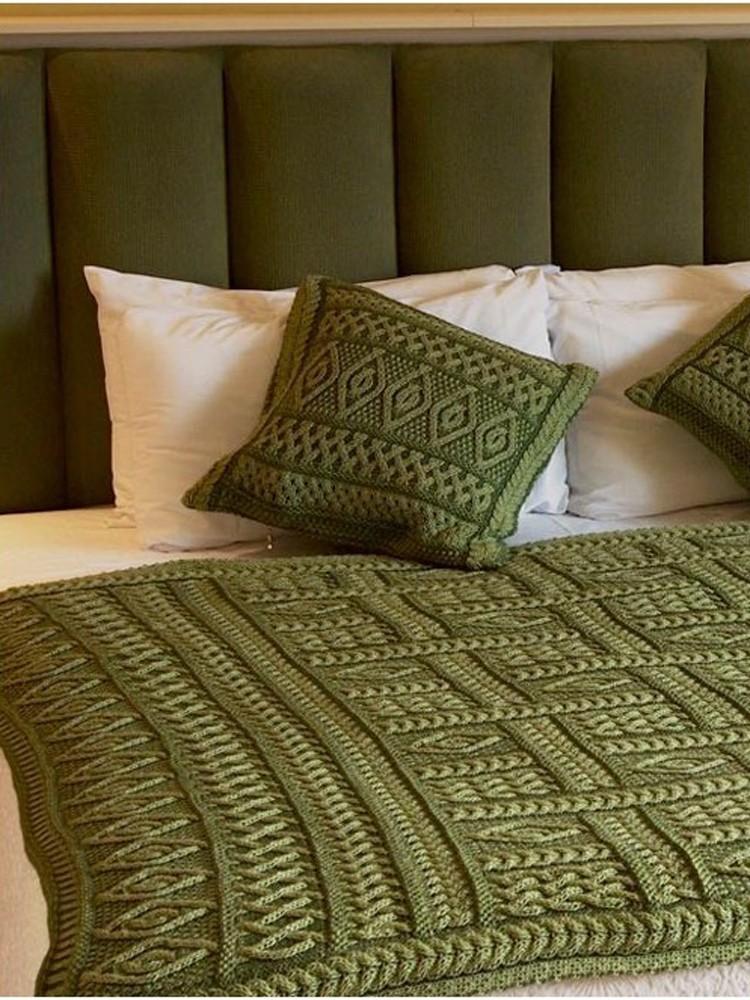 Green Merino Wool Aran Plated Throw Blanket X40 Skellig Gift Store Beauteous Aran Throw Blanket