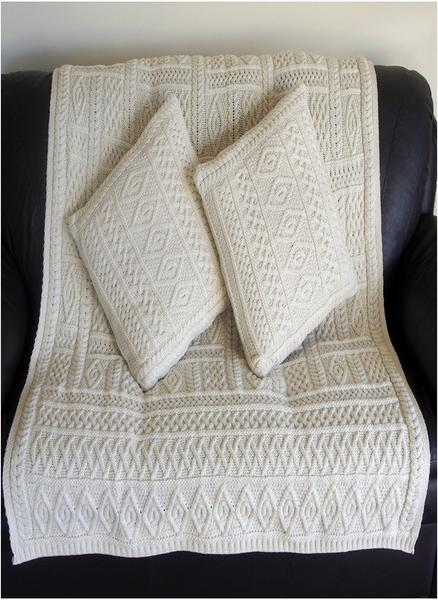 Natural Merino Wool Aran Plated Throw Blanket X40 Skellig Gift Inspiration Aran Throw Blanket