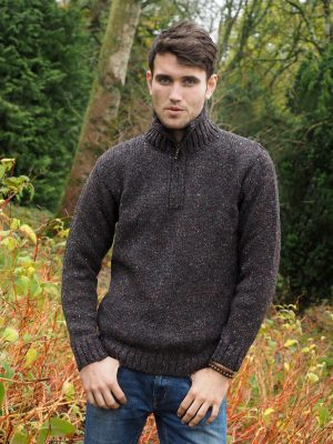 Donegal Wool Mens Half Zip Sweater Z2040