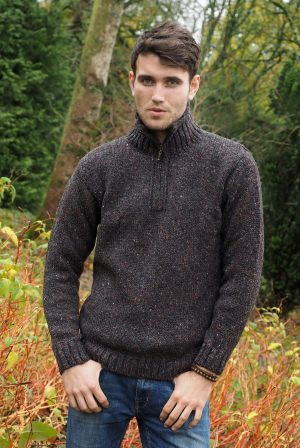 Donegal Wool Mens Half Zip Sweater Z2040
