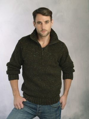 Forest Green Donegal Wool Mens Half Zip Sweater Z2040