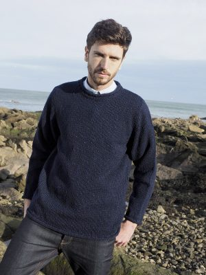 Navy Donegal Curl Neck Irish Sweater k4594