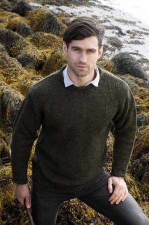 Green Irish Donegal Curl Neck Sweater k4594