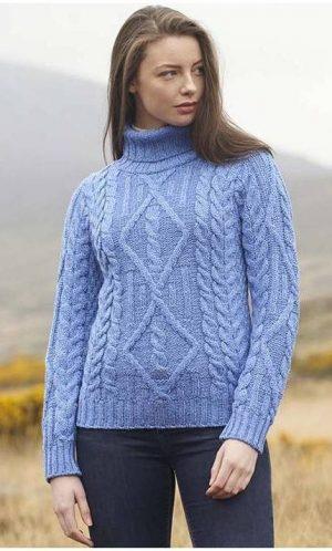 Ladies Blue Aran Turtle Neck Irish Sweater R2080
